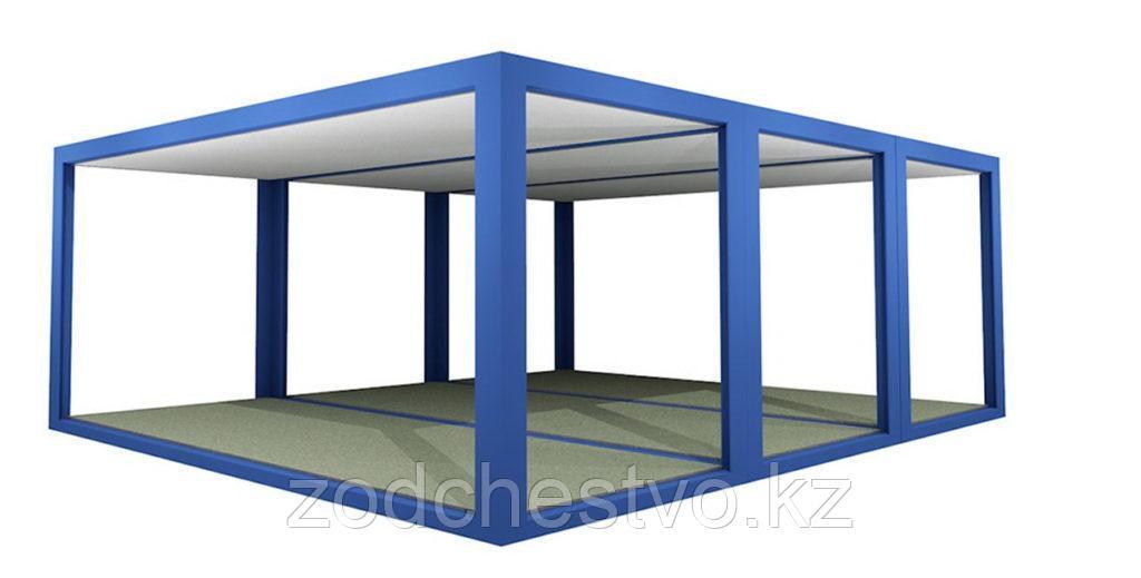 Металлический каркас разборного модульного здания с готовыми полами, крышей, потолком и электропроводкой.
