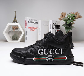 Зимние кроссовки Gucci ( мех ) Black
