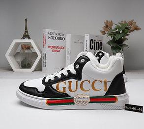 Зимние кроссовки Gucci ( мех ) Black\White, фото 2