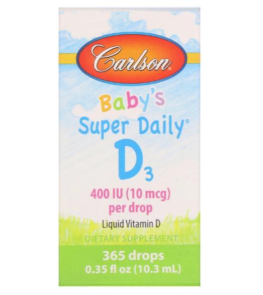 Carlson Labs, Витамин D3 для детей Super Daily , 400 МЕ, 0,35 жидкой унции (10,3 мл)