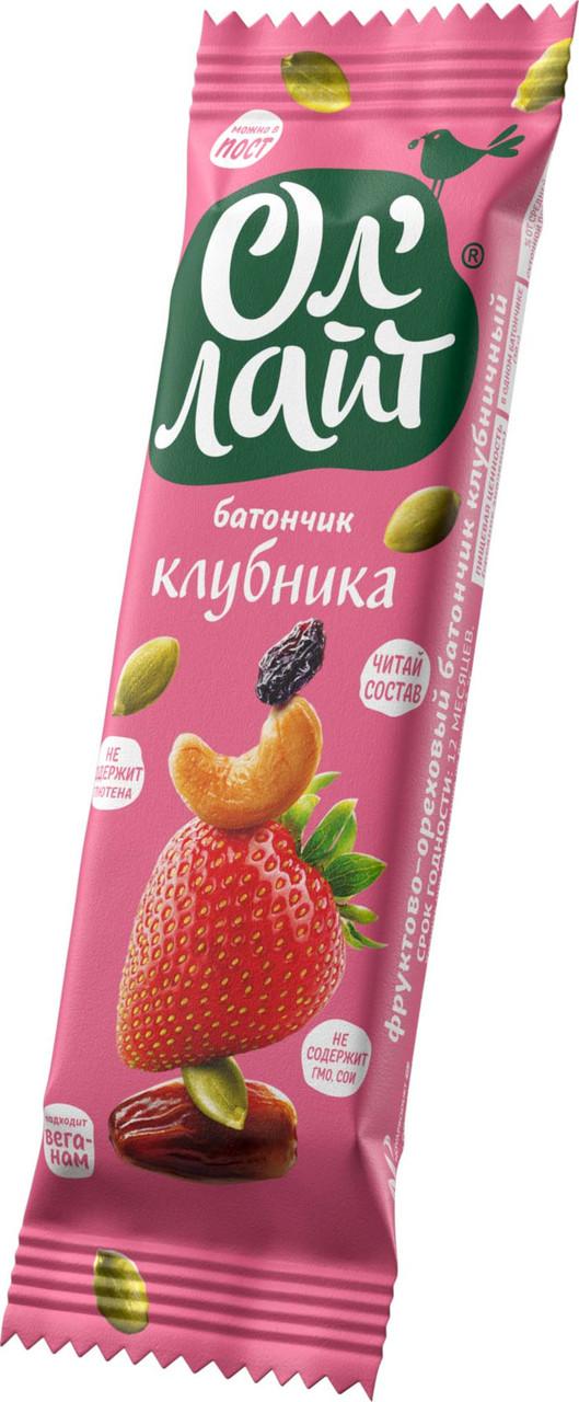 Батончик фруктово-ореховый - клубника
