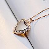 """Медальон на цепочке """"Розовое сердце"""", фото 6"""