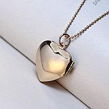 """Медальон на цепочке """"Розовое сердце"""", фото 7"""