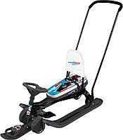 Снегокат Тимка спорт 6 гонки черный каркас с механизмом выдвижных шасси