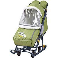 Санки - коляска комбинированная Ника Наши детки 2 НДТ2 оливковый летчик, фото 1