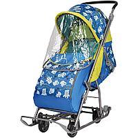 Санки - коляска комбинированная Умка 3-1 У 3-1 мишки синий, фото 1