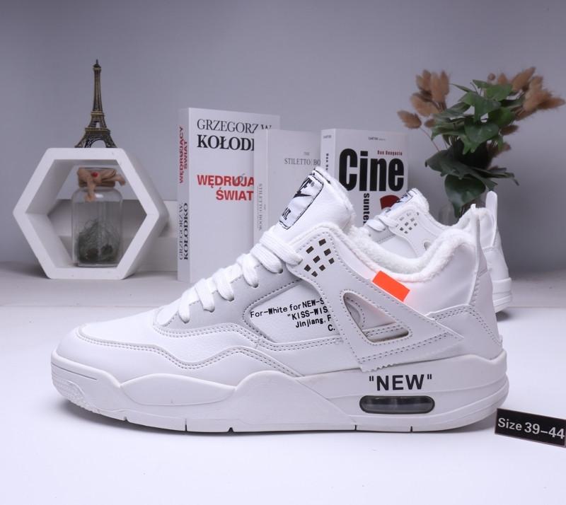 Зимние кроссовки Nike Air Jordan 4 Off White с мехом (39-44 )