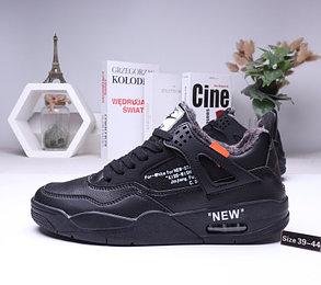 Зимние кроссовки Nike Air Jordan 4 Off White с мехом (39-44), фото 2