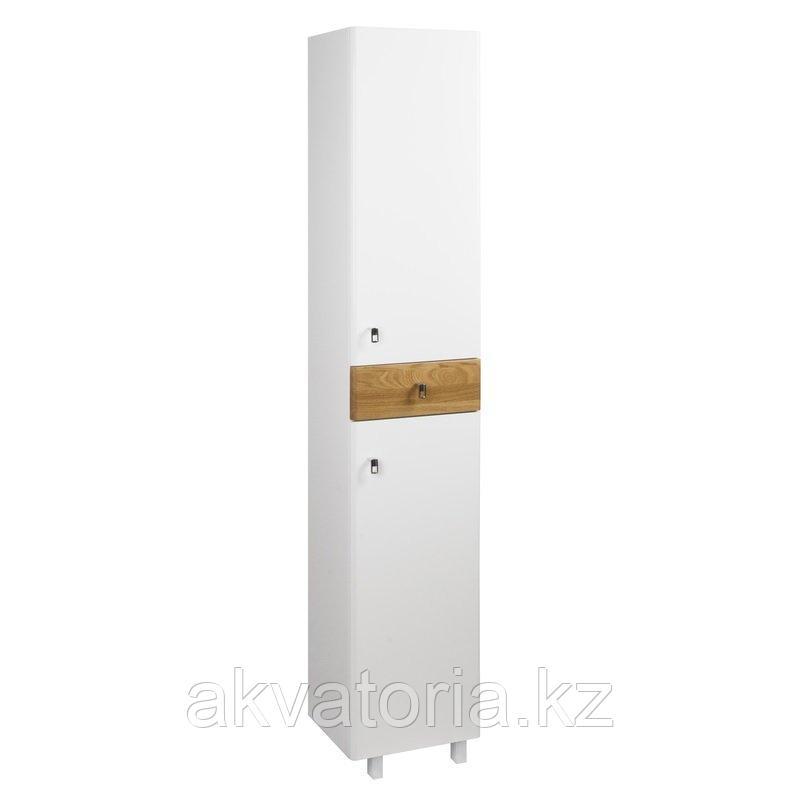 Пенал для ванной комнаты, напольный, белый/под дерево, 36см, Carlow, IDDIS   CAR3600i97