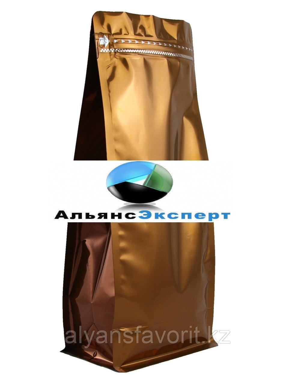 Пакет восьмишовный с плоским дном коричневый с  замком зип лок
