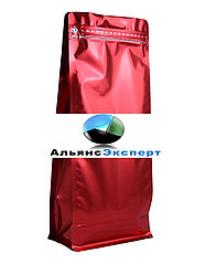 Пакет восьмишовный с плоским дном красный с замком зип лок