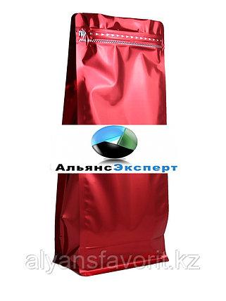 Пакет восьмишовный с плоским дном красный с замком зип лок, фото 2