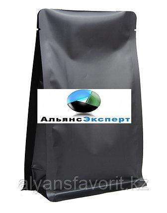 Пакет восьмишовный с плоским дном черный матовый 135+65х205 мм, фото 2