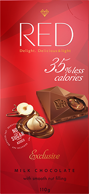 """Молочный шоколад с ореховой начинкой со сниженной калорийностью, """"RED Delight"""", 110 г"""