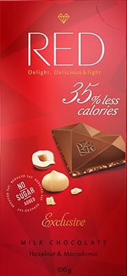 """Молочный шоколад с фундуком и макадамией со сниженной калорийностью, """"RED Delight"""", 100 г"""