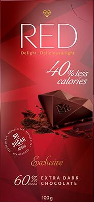 """Темный шоколад EXTRA со сниженной калорийностью, """"RED Delight"""", 100 г"""