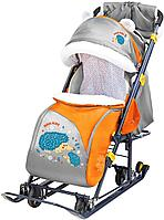 Санки - коляска с трансформируемым кузовом НД7-6 ежик оранжевый, фото 1