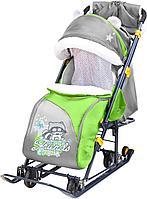 Санки - коляска Ника НД7-6 с перекидной ручкой енот зеленый, фото 1