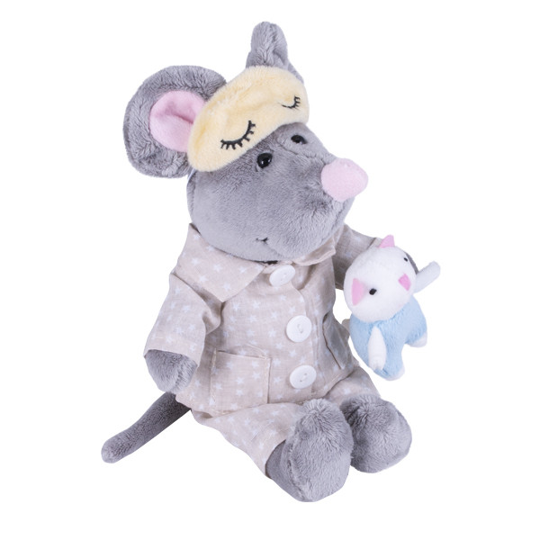 Мягкая игрушка Мышь в пижаме, 26 см.
