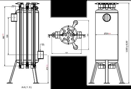 УФ установка обеззараживания воды Aqualine ES -160 PRO ( произв-ть 60 м3/час), фото 2