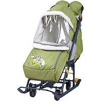 Санки - коляска комбинированная Ника Наши детки 2 НДТ2 оливковый летчик