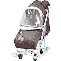 Санки - коляска комбинированная Ника Наши детки 2 Жираф шоколадный