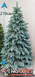 Ель искусственная с литой хвоей голубая или зеленая 210 см