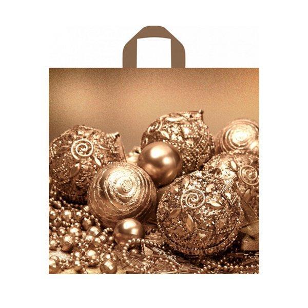 """Пакет (мешок) петля ПВД 42х44см, 70мкм, """"Бронзовые шарики"""", 50 шт"""