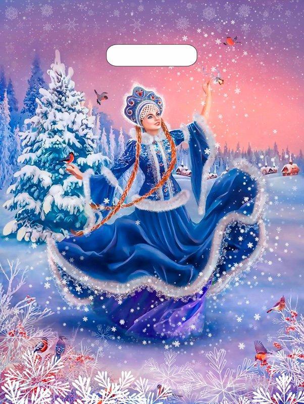 "Пакет (мешок) проруб ПВД 40х31см, 60мкм, ""Танец Снегурочки"" лам. , 50 шт"