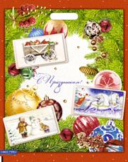 """Пакет (мешок) проруб. ПВД 51х41см, 80мкм, """"Новогодняя открытка"""", 25 шт"""
