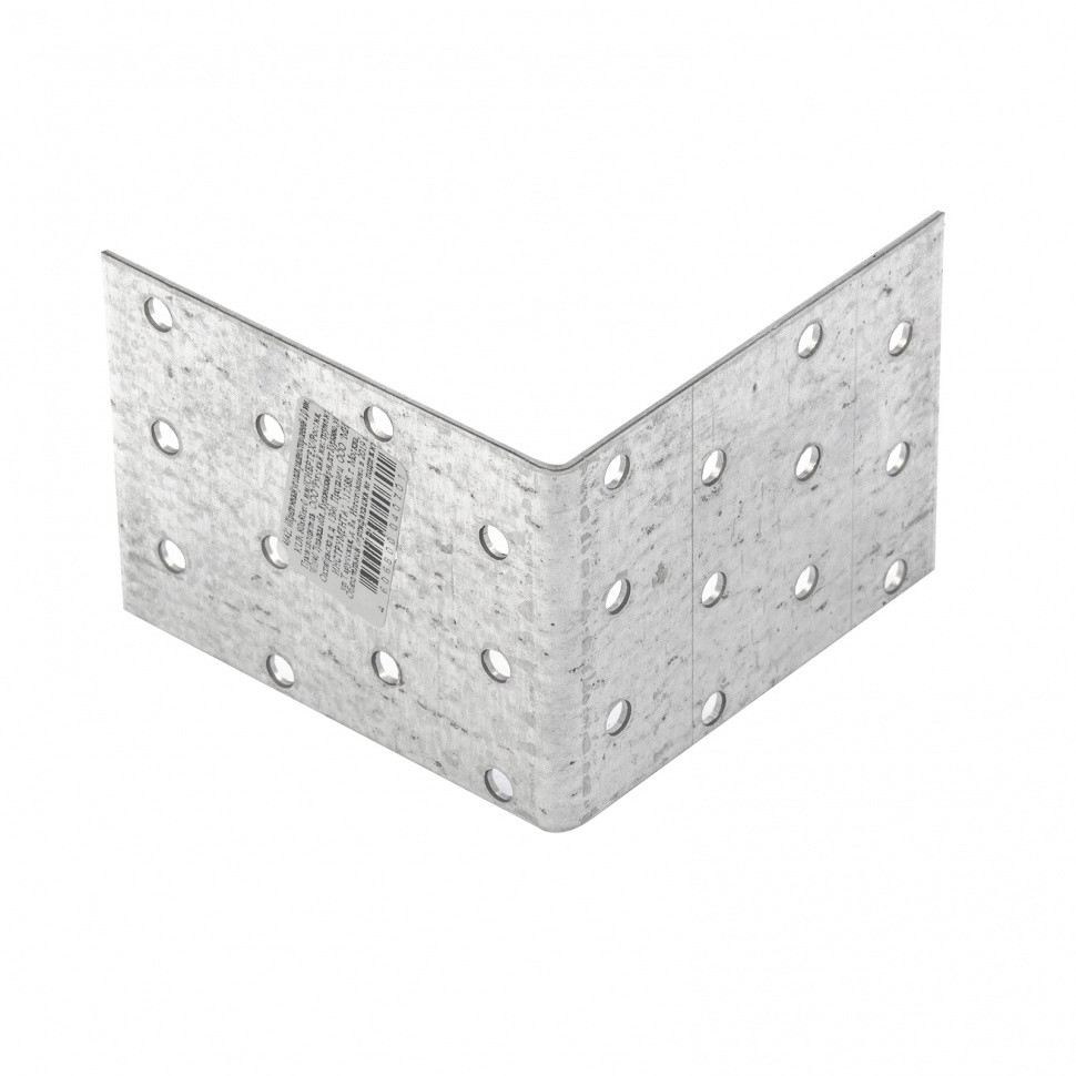 Крепежный уголок равносторонний 2 мм, KUR 80 х 80 х 60 мм Россия Сибртех