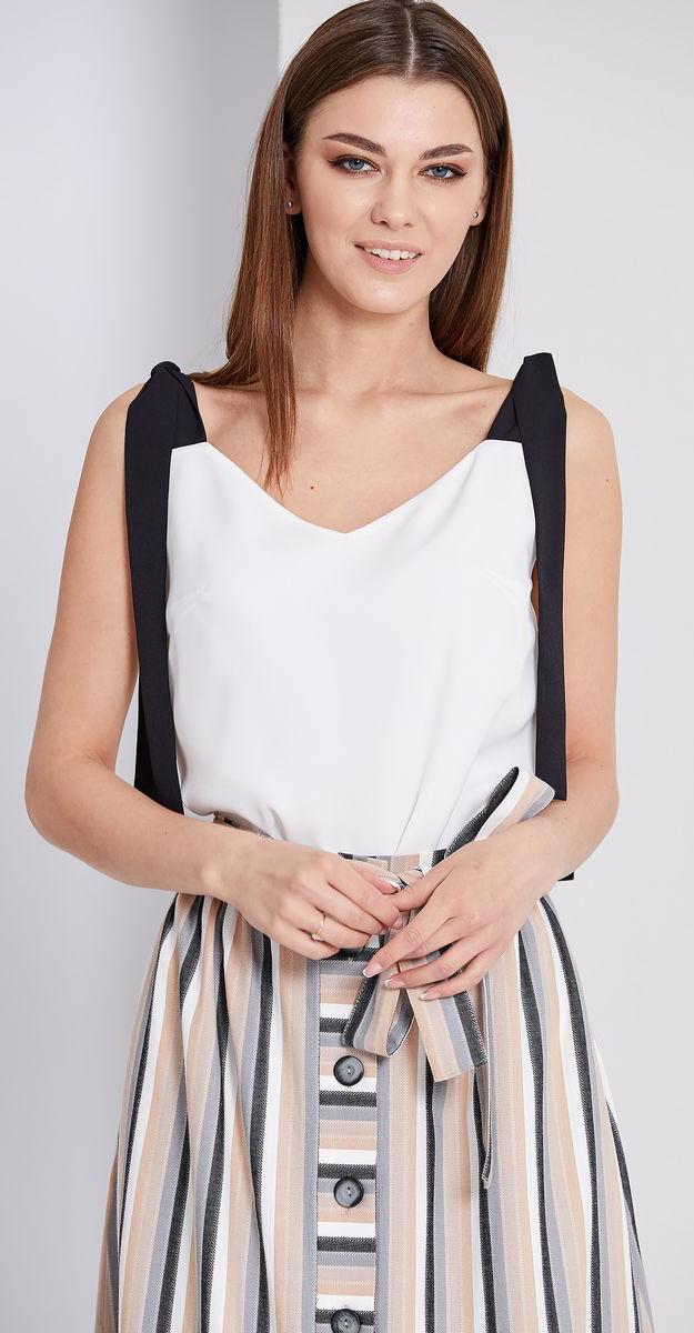 Блузка EOLA-1677/3, белый с черным, 50