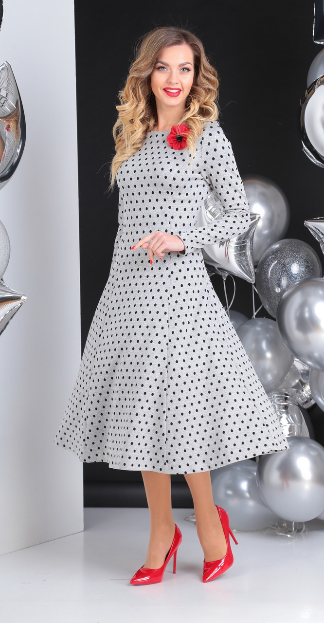 Платье Sandyna-13612/1, серый, 46