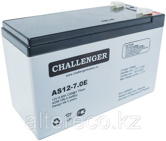 Аккумулятор Challenger AS12-7.0A (12В, 7Ач), фото 2