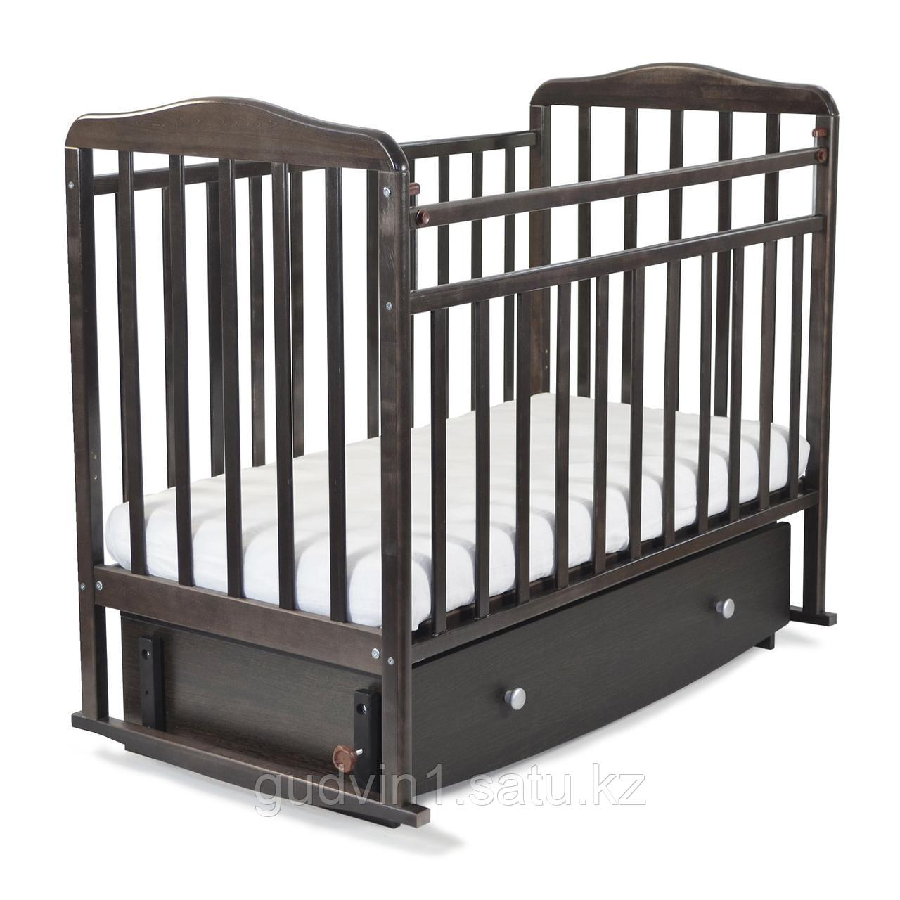"""Кровать детская """"Митенька"""" поперечный маятник с ящ.  163008 венге"""