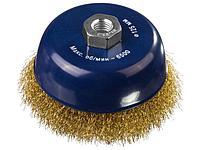 DEXX. Щетка чашечная для УШМ, витая стальная латунированная проволока 0,3мм, 125ммхМ14