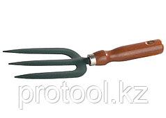 Вилка GRINDA посадочная, из углеродистой стали с деревянной ручкой, 275 мм