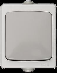 """Выключатель СВЕТОЗАР """"АВРОРА"""" одноклавишный, IP44, цвет серо-белый, 10А/~250В"""