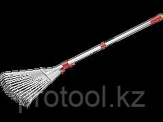 Грабли GRINDA, алюминиевый телескопический черенок, 15 круглых зубцов