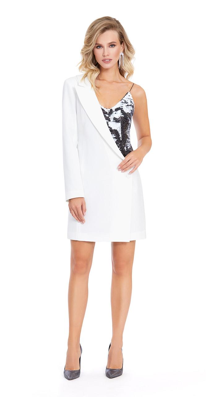 Платье PiRS-870, белый с черным, 42