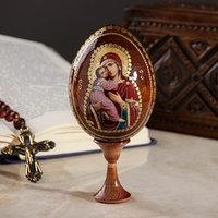Сувенир Яйцо на подставке икона 'Божья Матерь Владимирская'