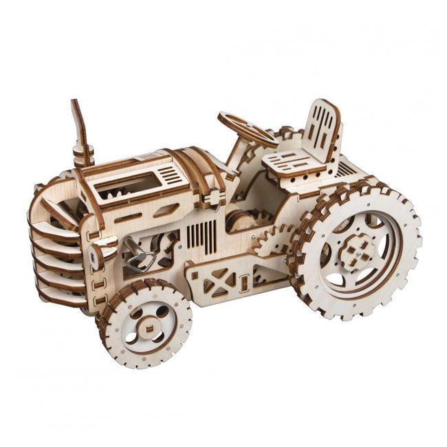 Robotime Деревянный 3D конструктор трактор, с механическим приводом