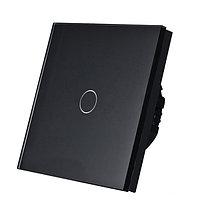 Выключатель сенсорный одноклавишный черный стекло, фото 1