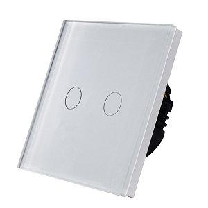Выключатель сенсорный двухклавишный белый стекло