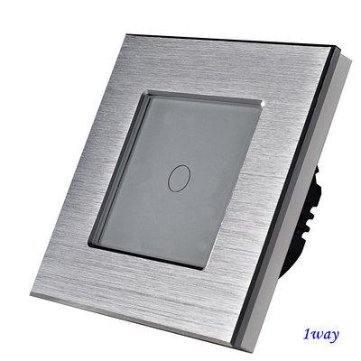 Выключатель сенсорный одноклавишный Серый. Алюминий
