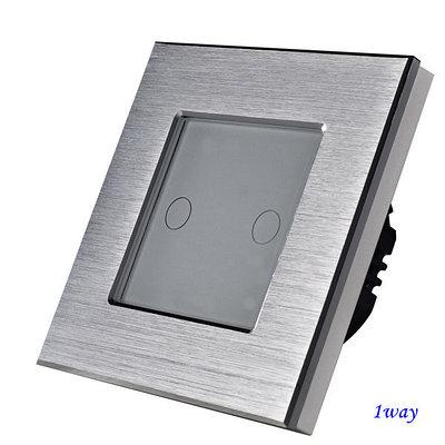 Выключатель сенсорный двухклавишный Серый. Алюминий