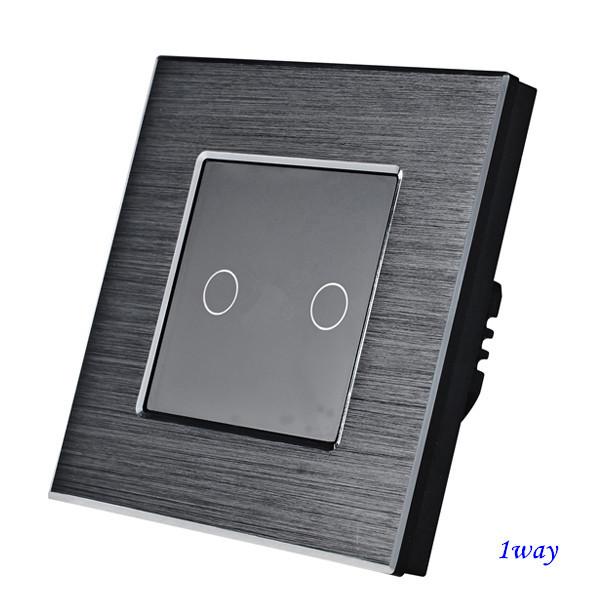 Выключатель сенсорный двухклавишный Черный. Алюминий