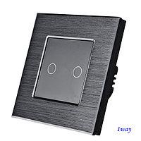 Выключатель сенсорный двухклавишный Черный. Алюминий, фото 1