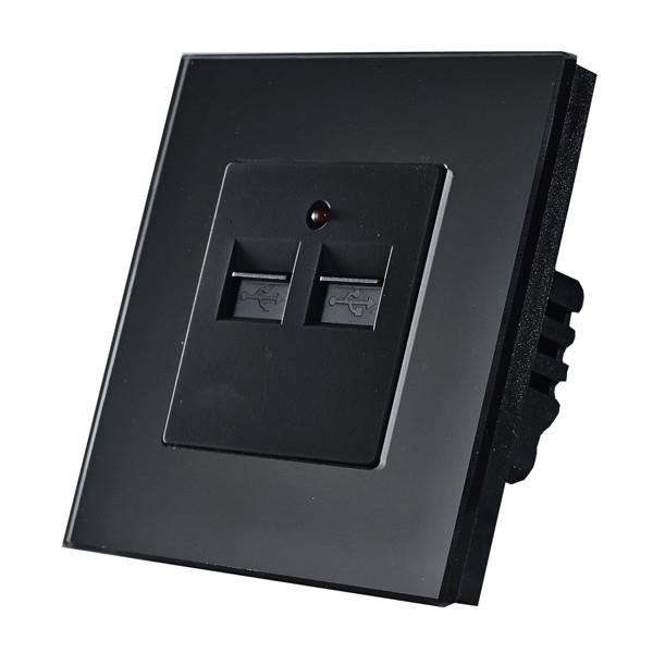 USB-розетка. Черный. Стекло