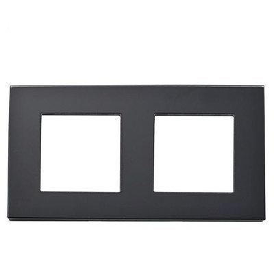 Рамка на два модуля из стекла. Черная